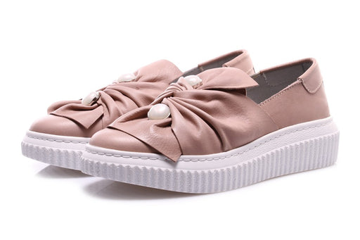 D+ womens pink leather Sneakers slip-on