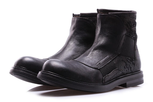J.P. DAVID mens black leather Ankle boots