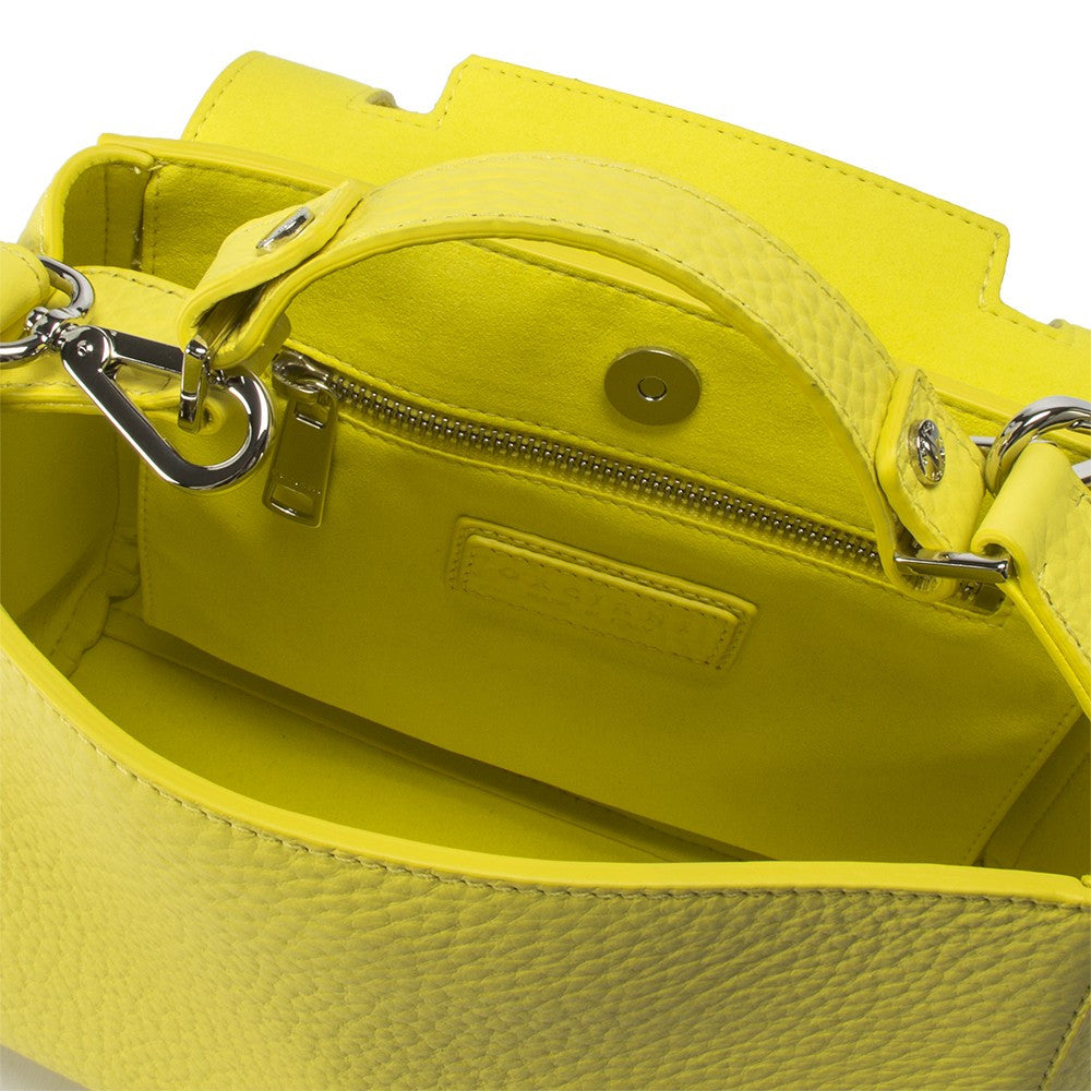 Orciani Sveva womens lemon yellow hammered leather handbag