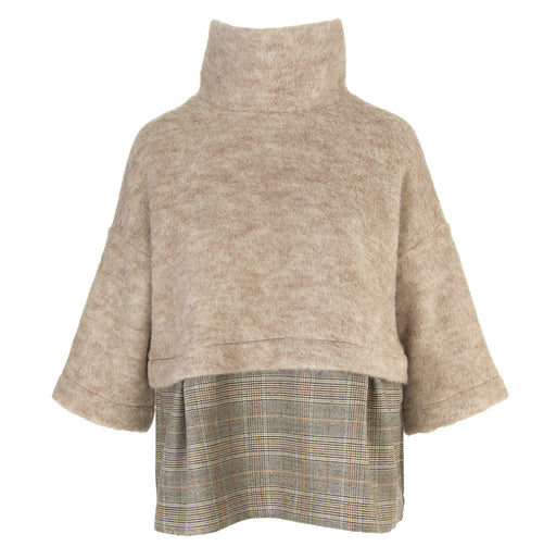 BIONEUMA womens beige prince of wales wool Sweater
