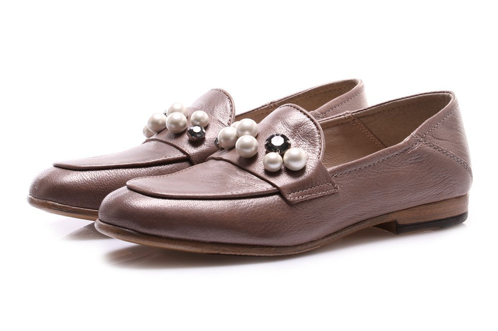 DEI COLLI womens beige leather Loafers