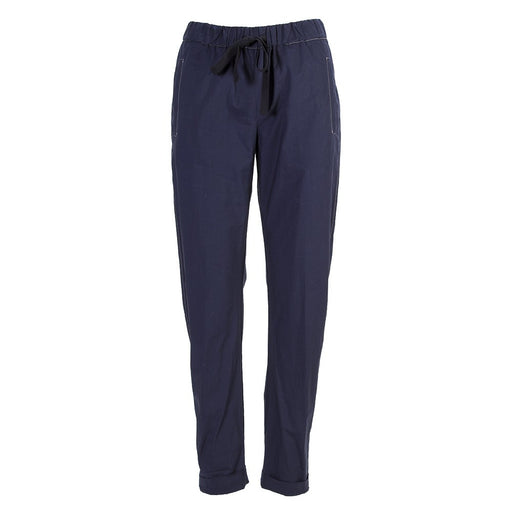 Semicouture womens navy blue cotton trousers