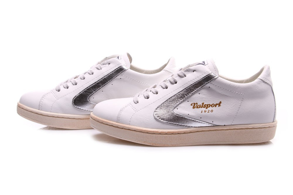 VALSPORT 1920 womens Tournament sneakers white silver leather