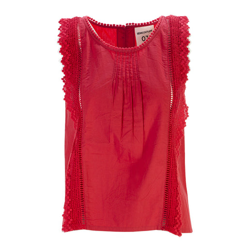 Semicouture womens coral red cotton top with lace application