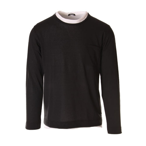 Officina36 mens black tricot sweater with wide white crew neck