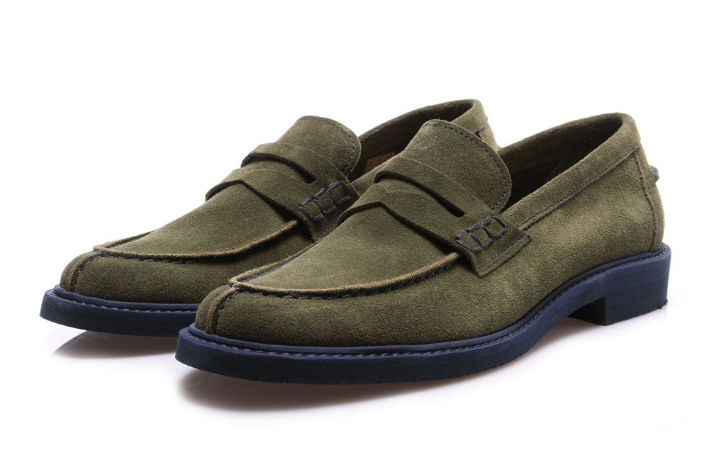 LEREW'S mens moss green suede College