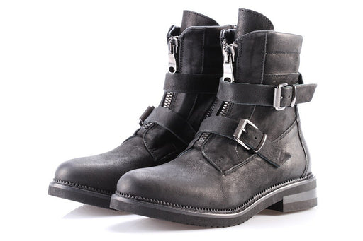KEB womens black leather Ankle boots