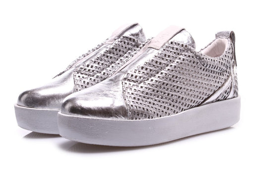 ANDIAFORA womens silver leather Slip on sneakers