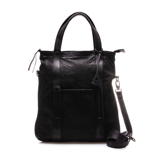 REHARD womens black dyed leather Handbag backpack