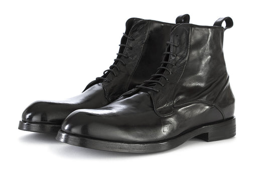 DELAVÈ mens black leather Lace-up ankle boots