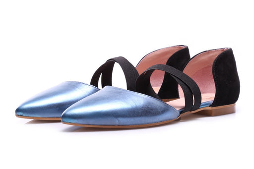 POPS Womens light blue leather Ballerinas