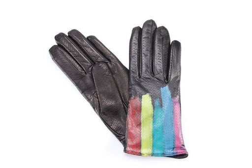 5 FINGERS women Gloves black rainbow leather wool nappa