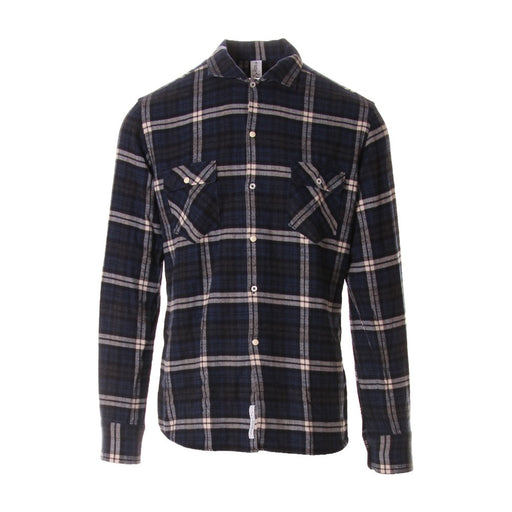 ETICHETTA 35 mens blue black Checked shirt