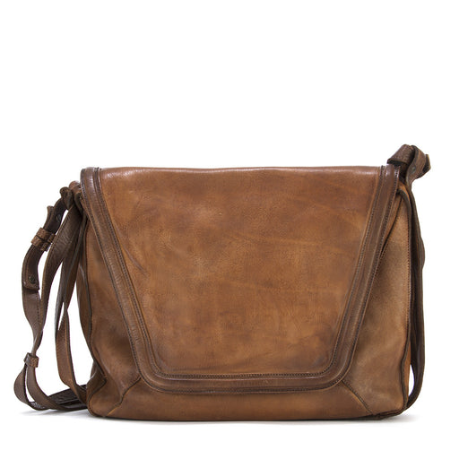 Rehard womens brown leather crossbody bag treated in wax