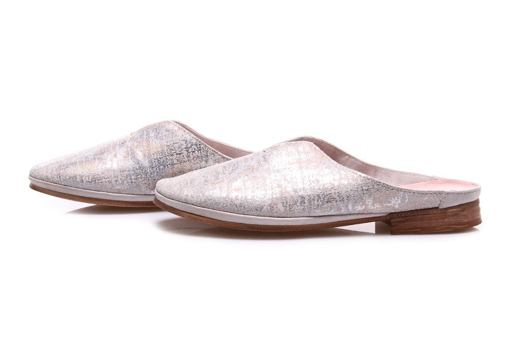 CLOCHARME womens metallic silver leather Sabot