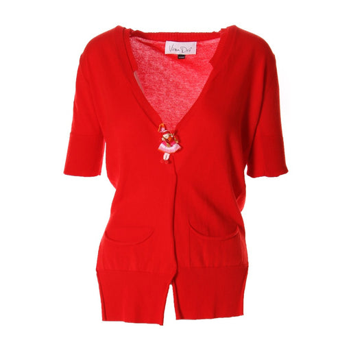 VIRNA DRO' women Cardigan red wooden buttons