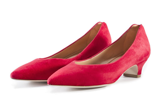 MARA BINI womens red suede Betty pumps