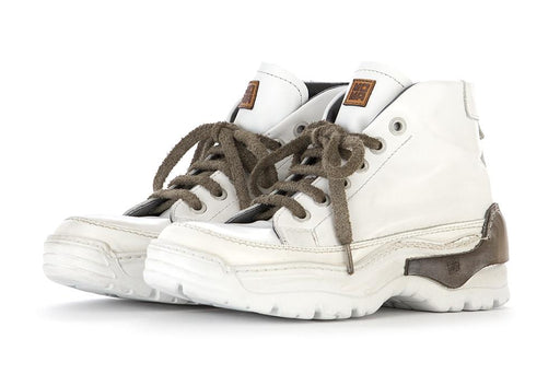 MOMA mens white/moss brown leather Sneakers