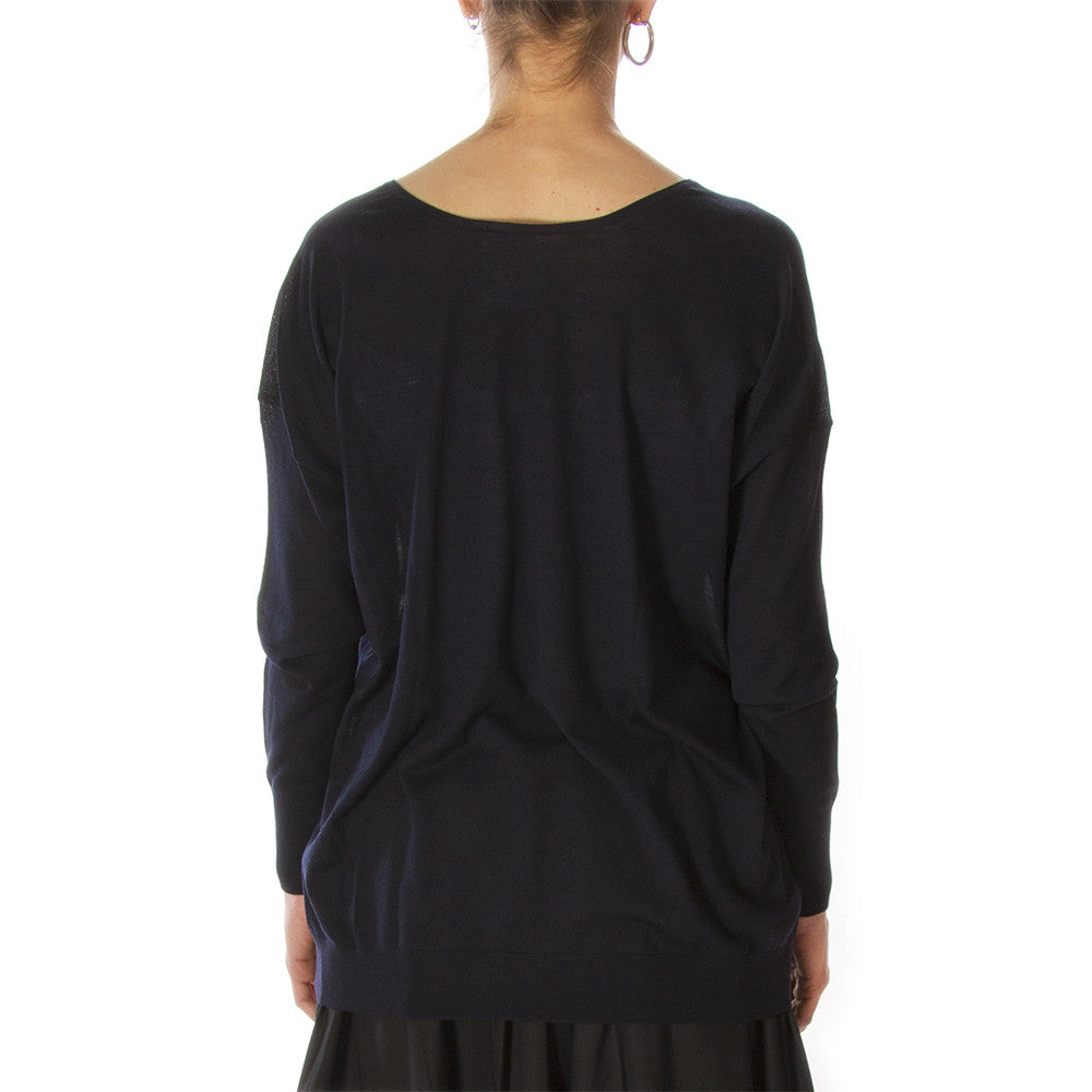 SEMICOUTURE Womens navy blue virgin wool Sweater