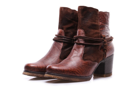 CLOCHARME womens brown leather Ankle boots