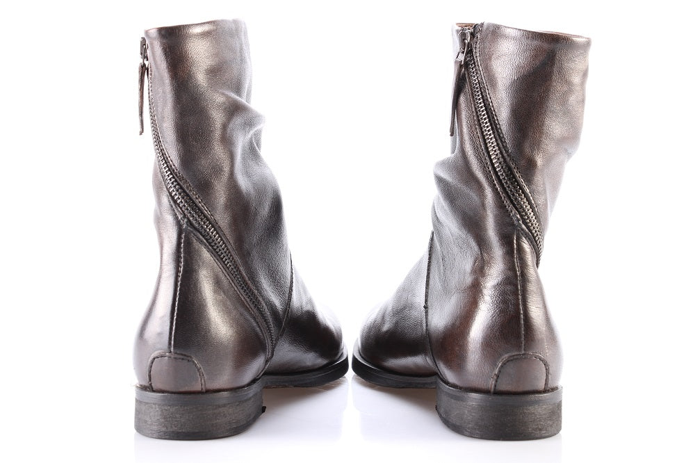 EKP womens pearly brown leather Ankle boots