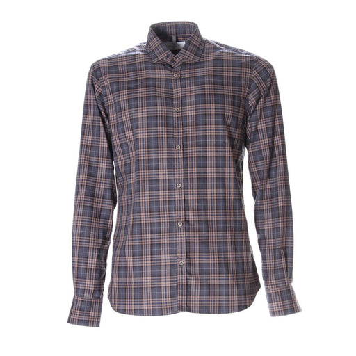 AGLINI mens blue brown tartan cotton Shirt