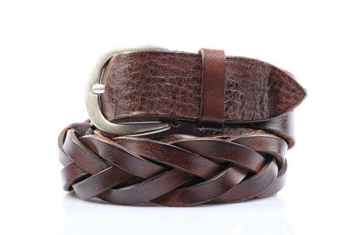 Orciani mens brown woven leather belt handmade