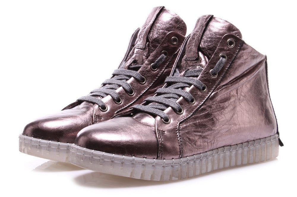 ANDIA FORA womens metallic pink High sneakers
