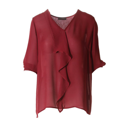SOALLURE womens burgundy Blouse transparent