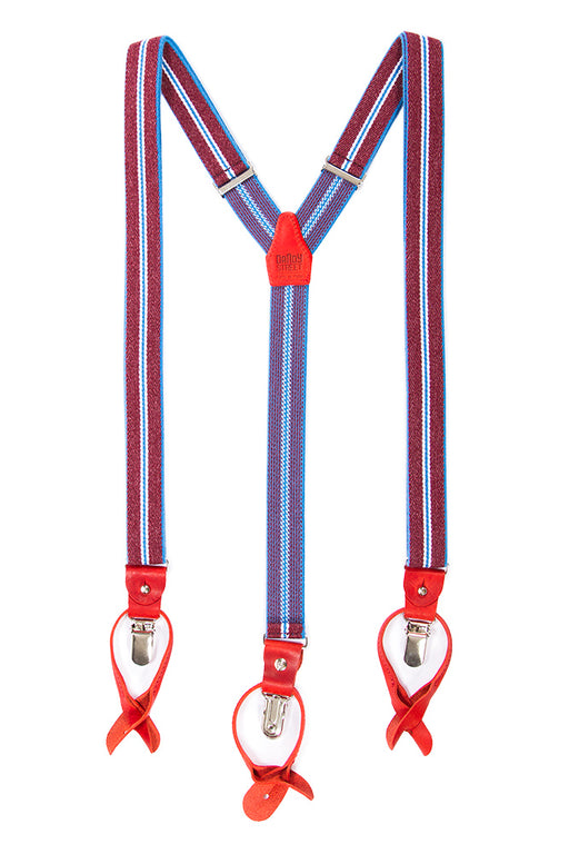 Dandy Street men's suspenders light blue/red