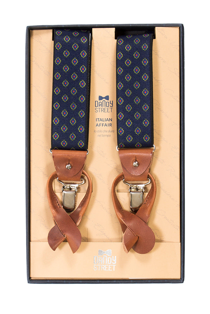 Dandy Street men's suspenders blue/cognac