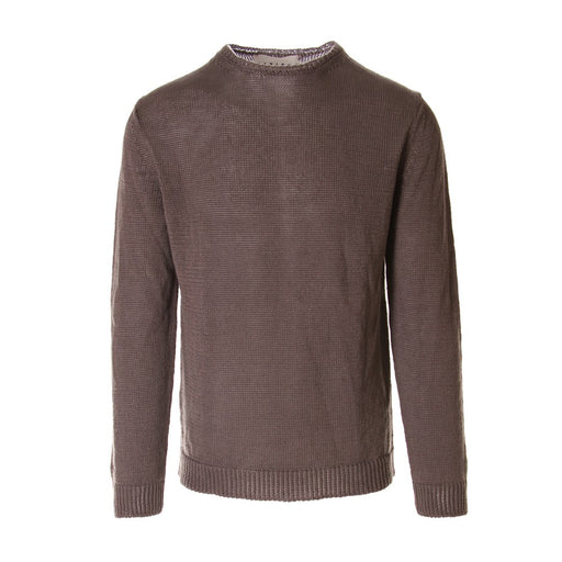 OBVIOUS BASIC mens linen tricot brown Sweater