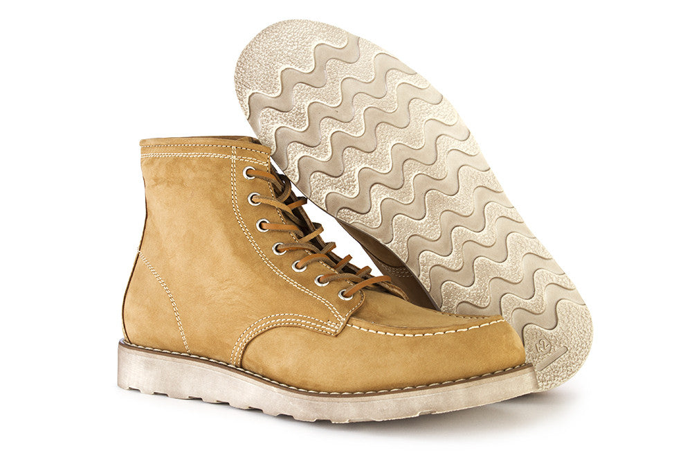 LEREW'S mens camel beige Lace-up ankle boots