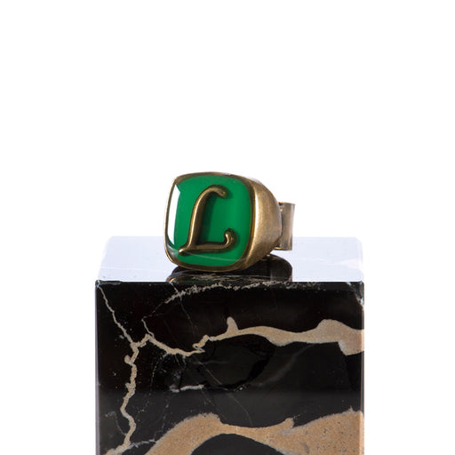 "UNIQUE womens green Ring letter ""L"""