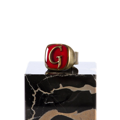 "UNIQUE womens red Ring letter ""G"""