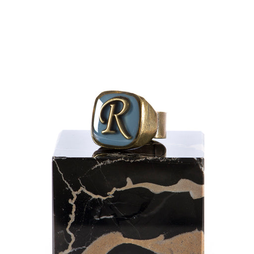 "UNIQUE womens light blue Ring letter ""R"""