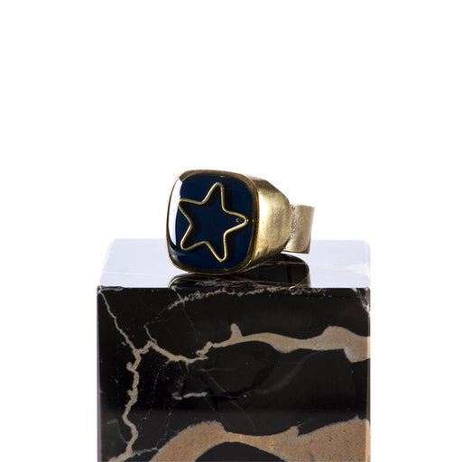 "UNIQUE womens ""Star"" blue enamelled Ring"