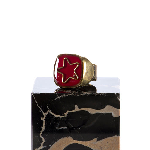 "UNIQUE womens ""Star"" red enamelled Ring"