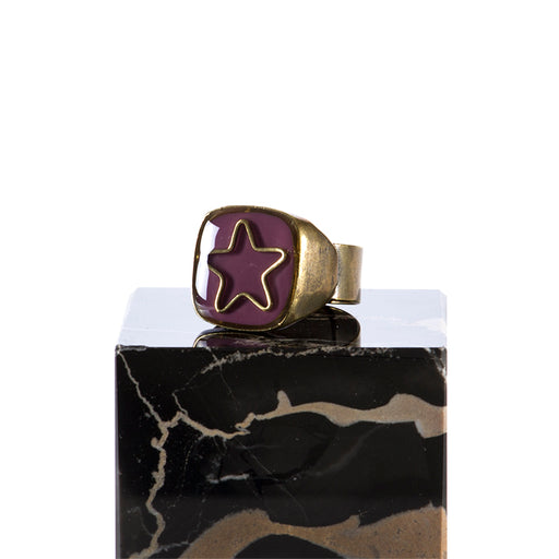 "UNIQUE womens ""Star"" purple enamelled Ring"