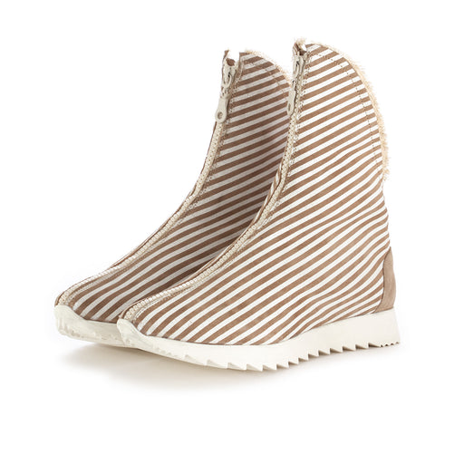 papucei ankle boots beige white stripes