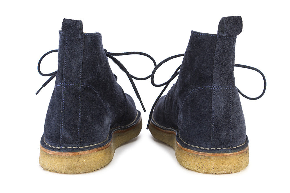 LEREW'S mens dark blue suede Desert boots