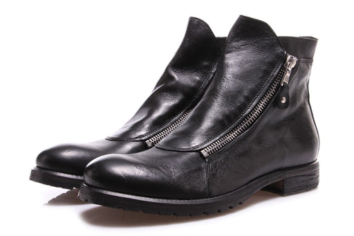 Pawelk's mens black leather ankle boots with double zip fastening