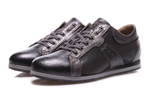 NICOLA BARBATO mens dark grey leather Flat shoes