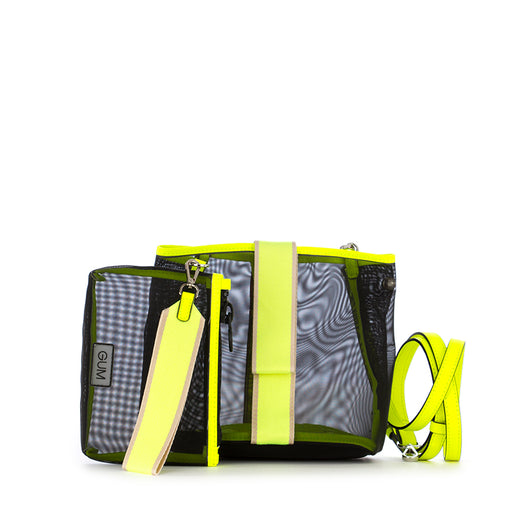Gum Chiarini womens bag black neon yellow