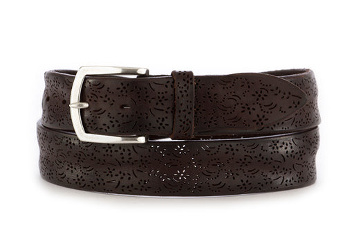 orciani mens belt leather dark brown