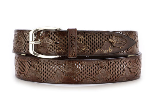 orciani mens belt leather brown handmade