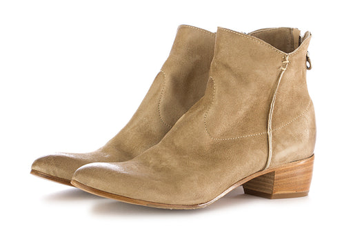 Kobra womens ankle boots beige leather