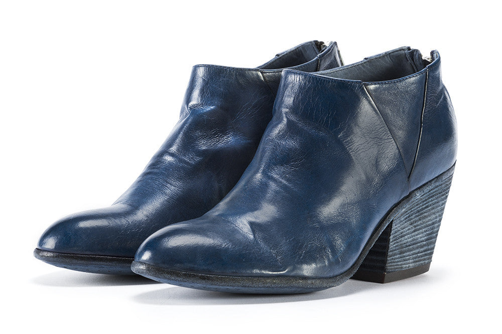 Officine creative womens deep blue leather ankle boots handmade