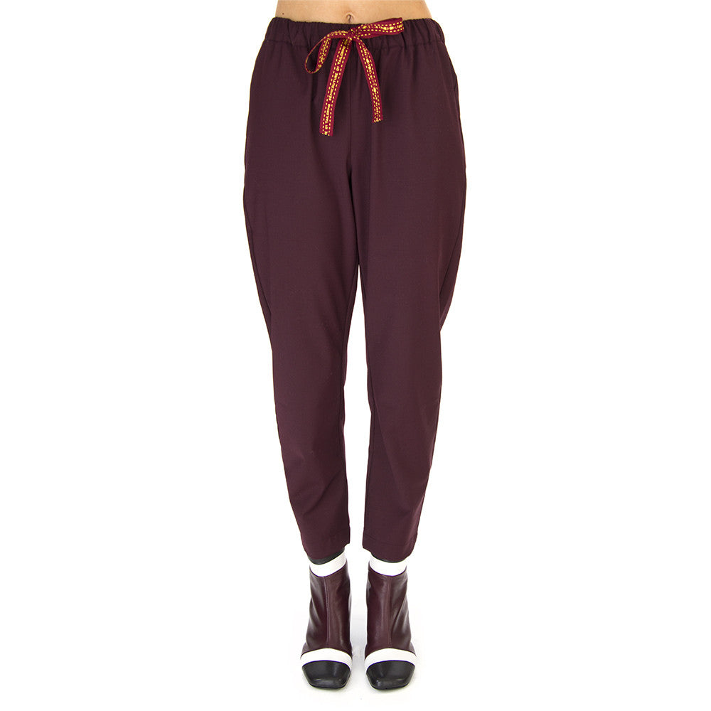 SEMICOUTURE womens dark bordeaux wool Trousers