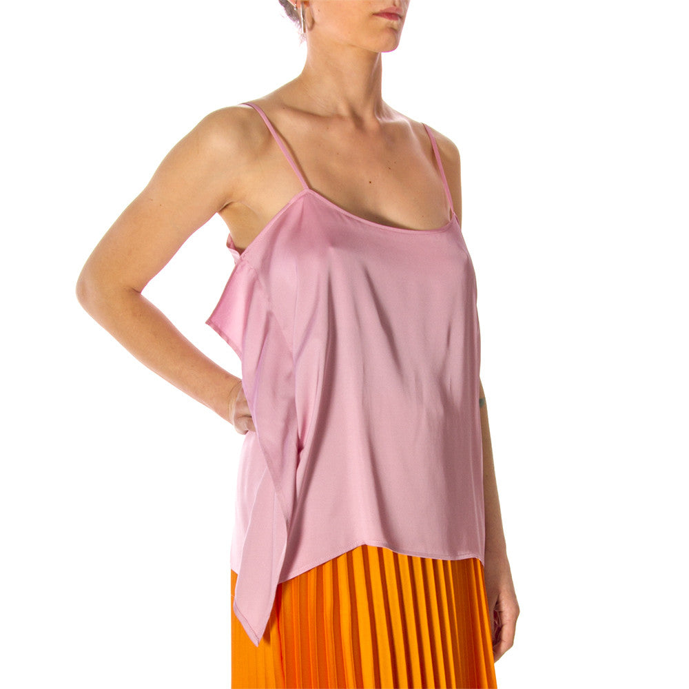 Semicouture womens pink viscose satin top